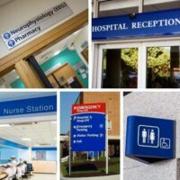 collection of hospital signage